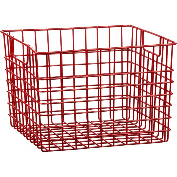Large Red Metal Bin with Handles