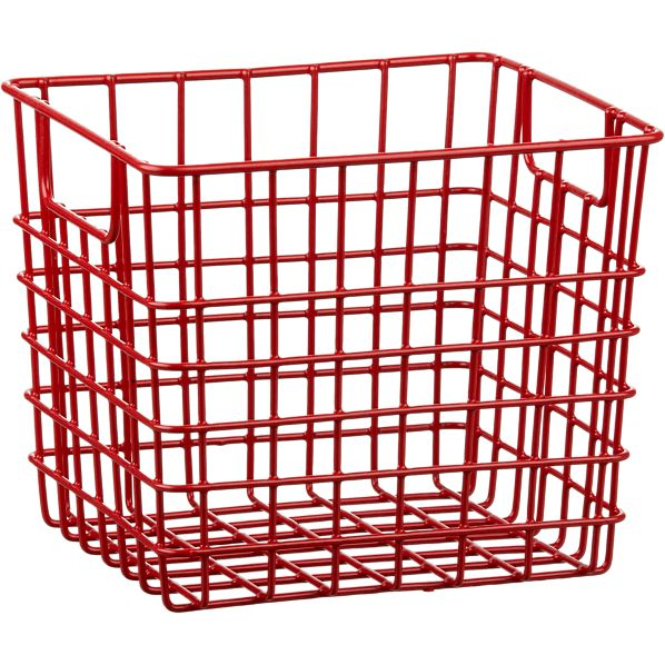 Small Red Metal Bin with Handles