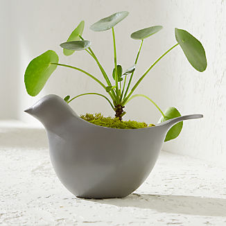 Light Grey Metal Bird Planter