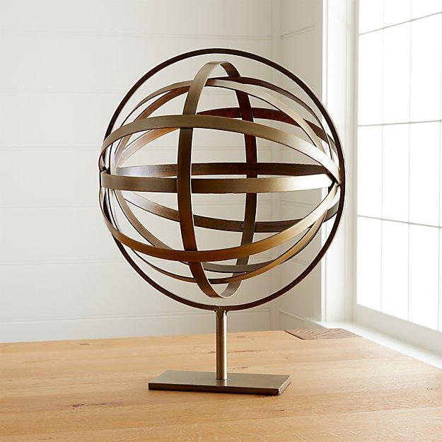 Metal Globe On Stand Sculpture