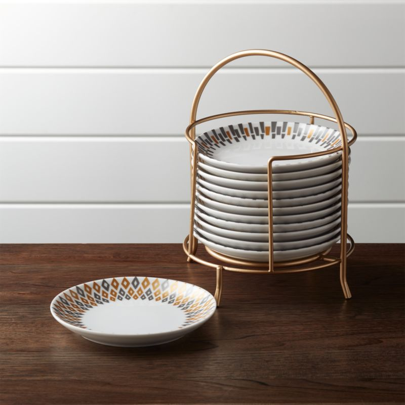 & Metallic Plates with Stand Set of 12 + Reviews | Crate and Barrel