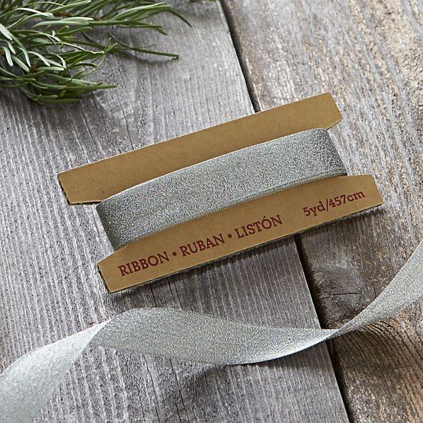 Silver Metallic Sparkle Wired Ribbon