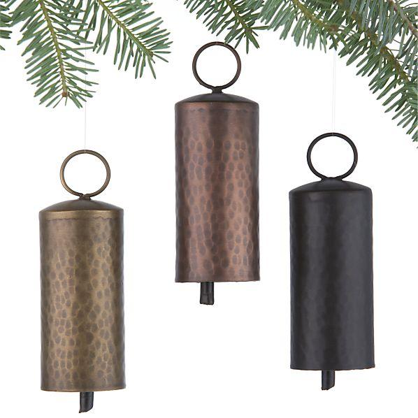 Set of 3 Metallic Bell Ornaments