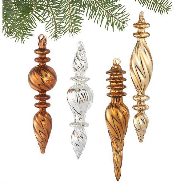 Set of 4 Metallic Optic Glass Finial Ornaments