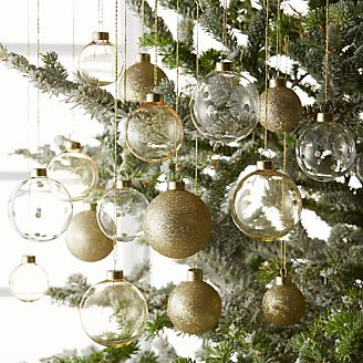 metallic gold ball ornaments set of 16 - Silver And Gold Christmas Tree Decorations