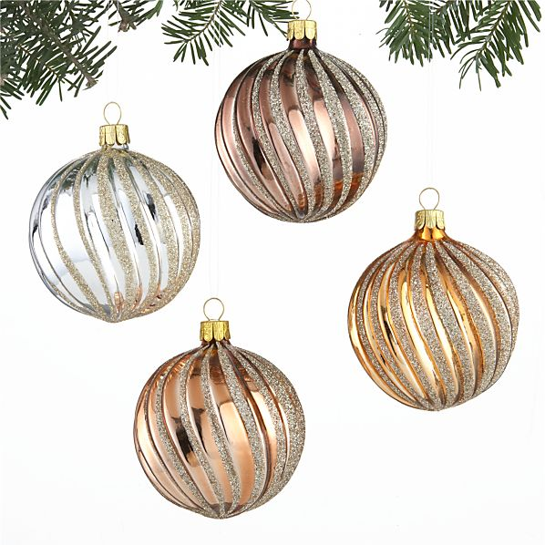 Set of 4 Metallic Ribbon Glitter Ball Ornaments