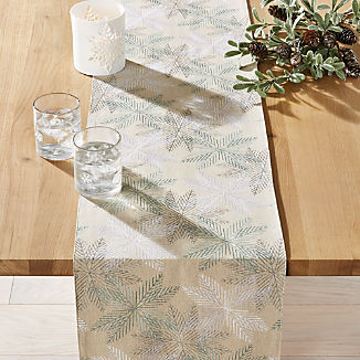 Embroidered Metallic Snowflakes Table Runner