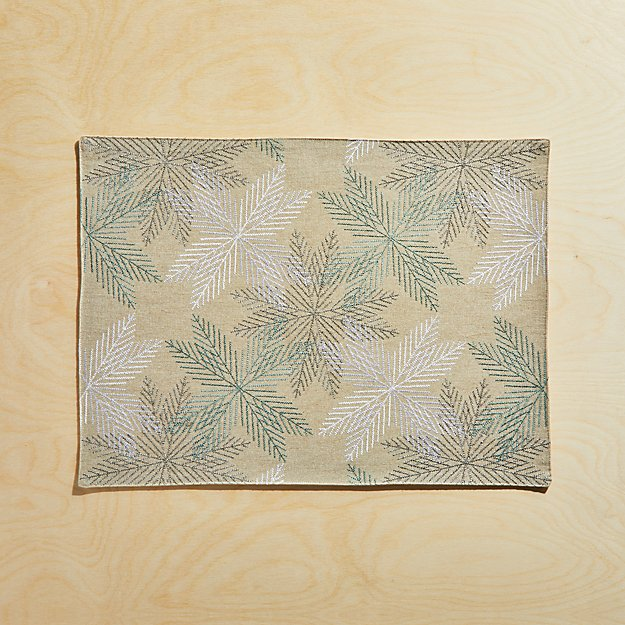 Embroidered Metallic Snowflakes Placemat - Image 1 of 4
