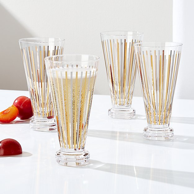 Metallic Stripes Cocktail Glasses, Set of 4 - Image 1 of 2