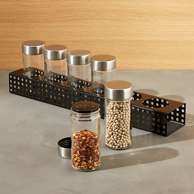 Metro 6-Jar Black Spice Rack