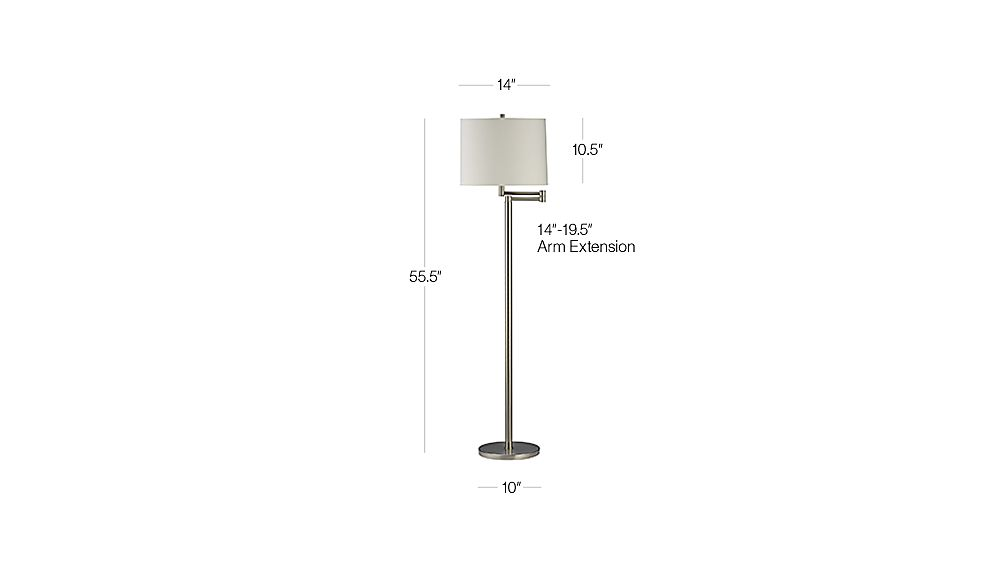 Metro ii brushed nickel swing arm floor lamp reviews crate and tap to zoom image with dimension for metro ii brushed nickel swing arm floor lamp aloadofball Image collections