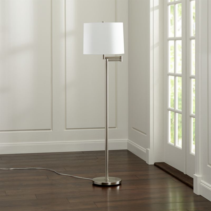 Metro Ii Brushed Nickel Swing Arm Floor Lamp Reviews Crate And Barrel