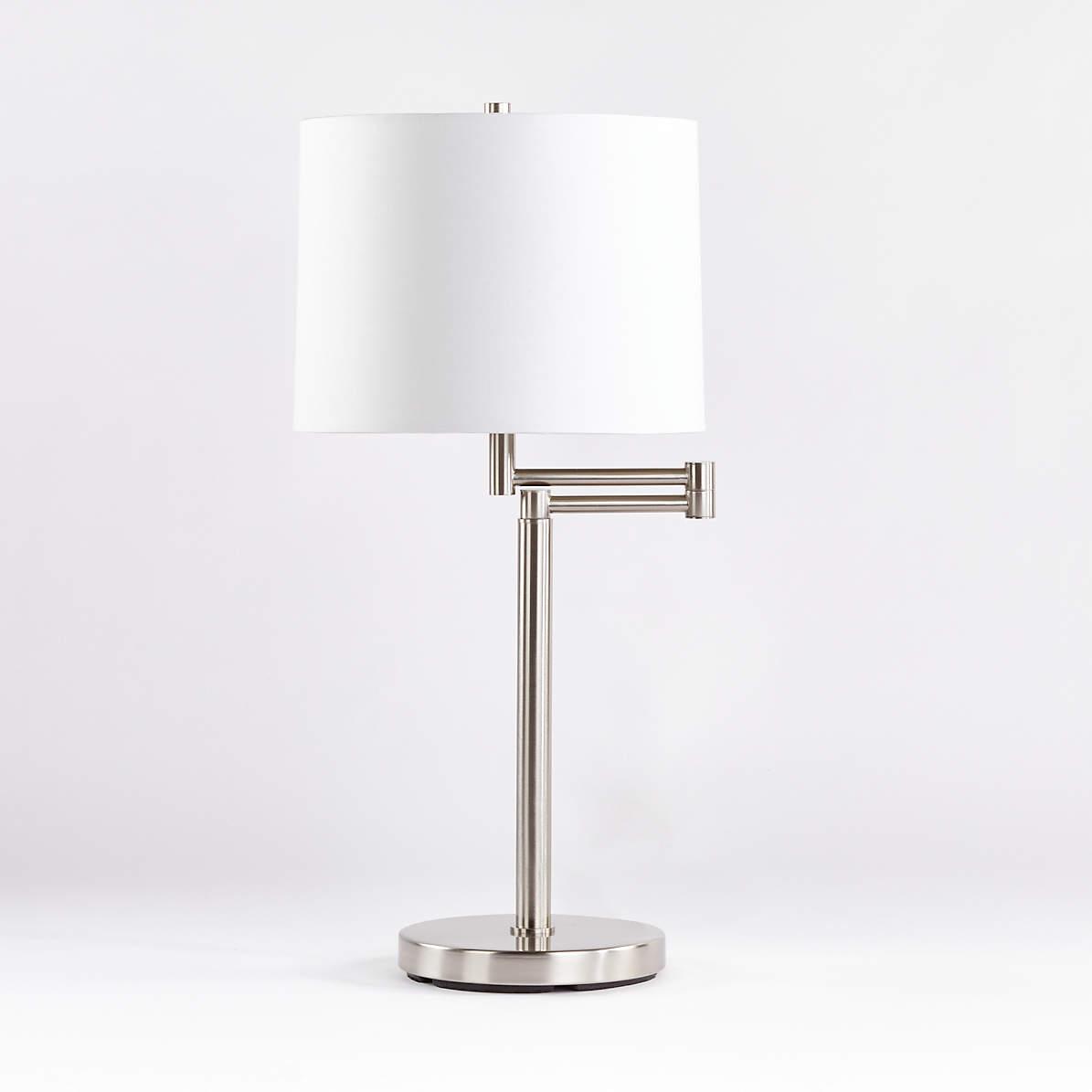 Metro Ii Brushed Nickel Swing Arm Table Lamp Reviews Crate And Barrel