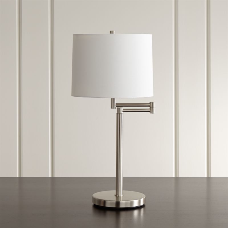 Merveilleux Metro II Brushed Nickel Swing Arm Table Lamp + Reviews | Crate And Barrel