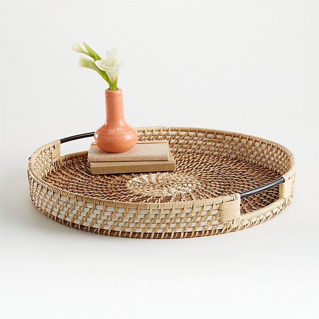 Meza Two Toned Rattan Tray - Image 1 of 4
