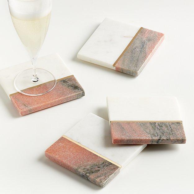 Mia Blush Coasters, Set of 4 - Image 1 of 5