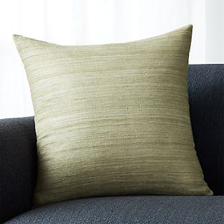 "Michaela Sage Green 20"" Pillow with Feather-Down Insert"