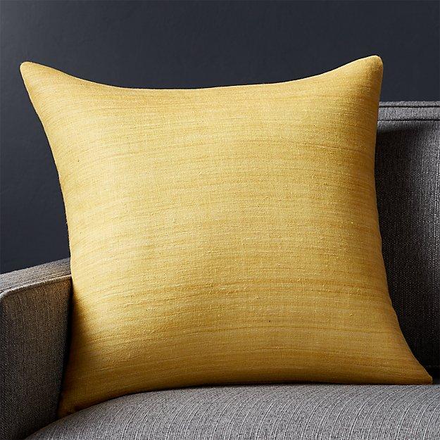 "Michaela Yellow 20"" Pillow with Down-Alternative Insert"