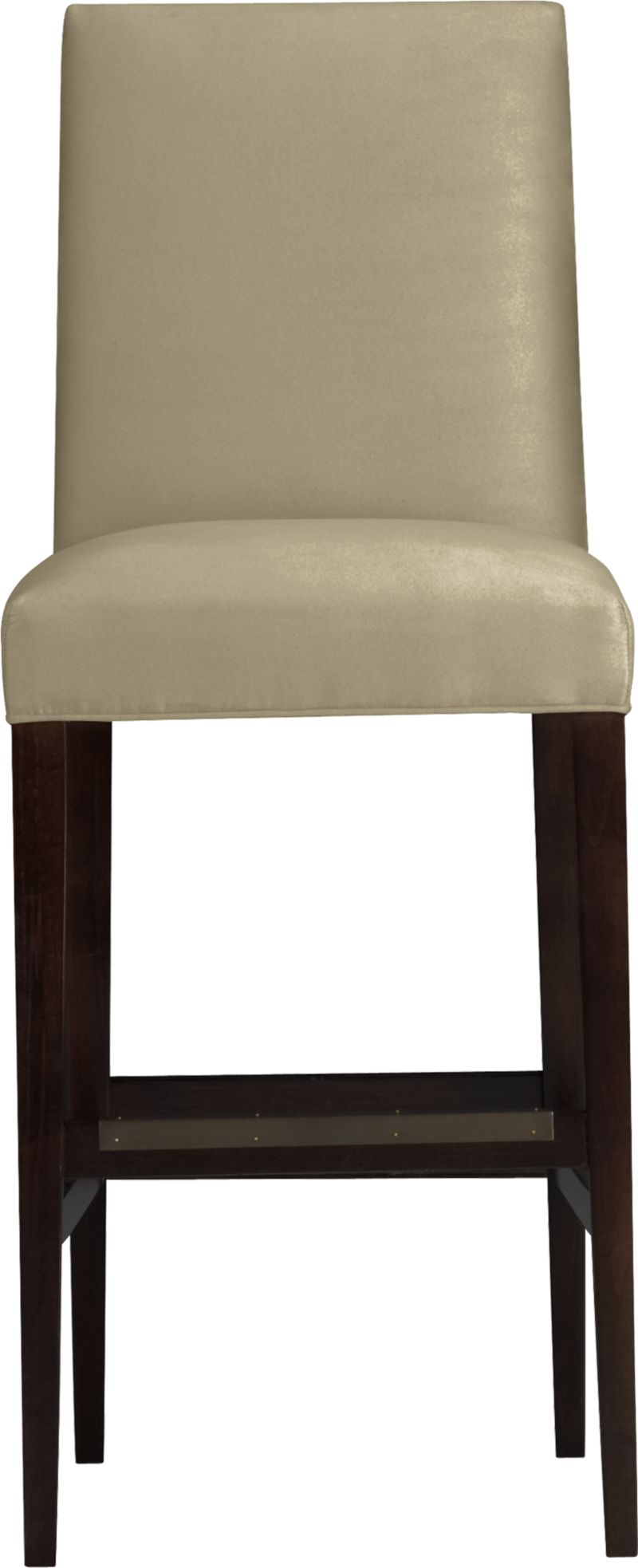 """Our Miles barstool is a fresh new classic with polished proportions and casual formality. Padded seat and gently curved back are upholstered in an easy-care textural poly blend in neutral sand. Slim hickory-colored hardwood legs taper gracefully to the floor.<br /><br />After you place your order, we will send a fabric swatch via next day air for your final approval. We will contact you to verify both your receipt and approval of the fabric swatch before finalizing your order.<br /><br /><NEWTAG/><ul><li>Eco-friendly construction</li><li>Certified sustainable solid engineered hardwood frame</li><li>Soy- or plant-based polyfiber cushions</li><li>Solid maple legs with a hickory finish</li><li>Poly-cotton blend fabric</li><li>30""""H seat sized for bars</li><li>Made in North Carolina, USA</li></ul>"""