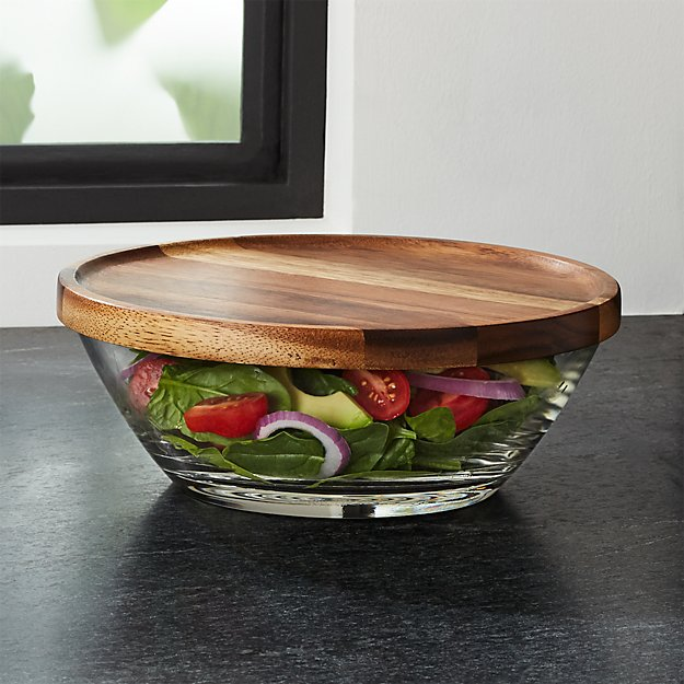 Miles Glass Bowl with Acacia Wood Lid - Image 1 of 4