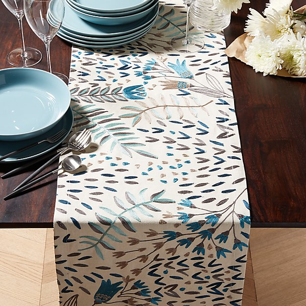 Milla Blue Embroidered Table Runner Crate And Barrel