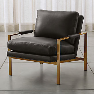Milo Baughman ® Leather Chair with Brushed Brass Base