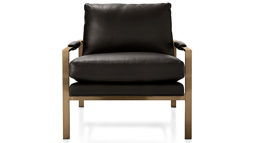 Milo Leather Chair with Brushed Brass Base