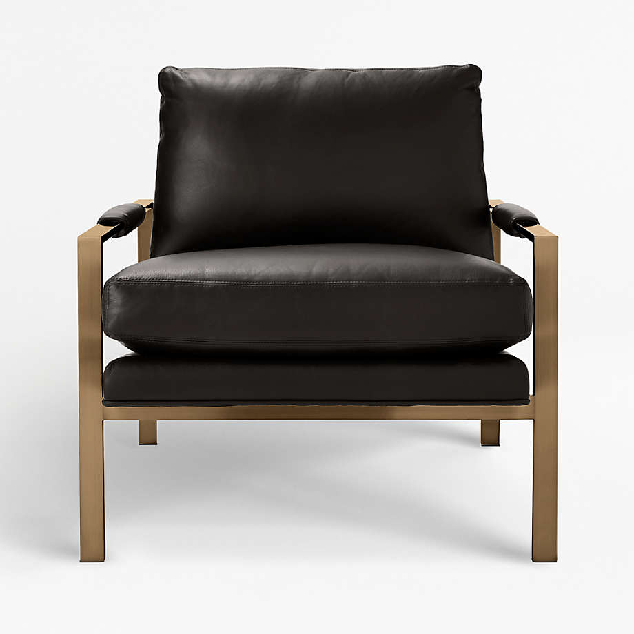 Milo Baughman Leather Chair With Brushed Brass Base