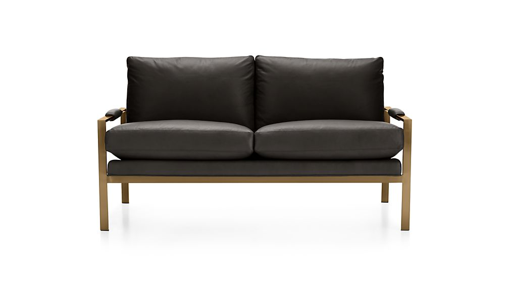 Milo Leather Settee with Brushed Brass Base