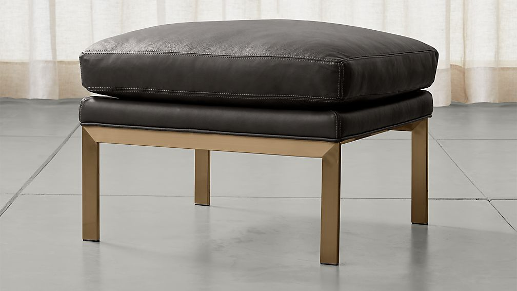 Milo Baughman ® Leather Ottoman with Brushed Brass Base - Image 1 of 3