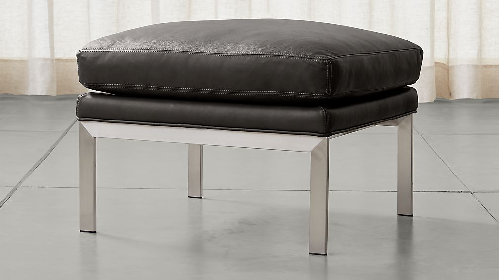 Milo Baughman ® Leather Ottoman - Image 1 of 3