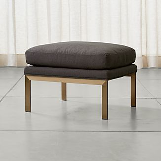Milo Ottoman with Brushed Brass Base