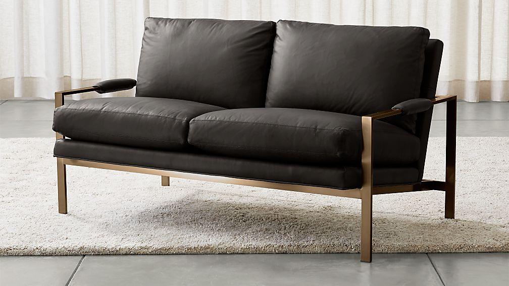Milo Baughman ® Leather Settee with Brushed Brass Base - Image 1 of 5