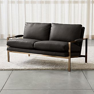 Milo Baughman ® Leather Settee With Brushed Brass Base