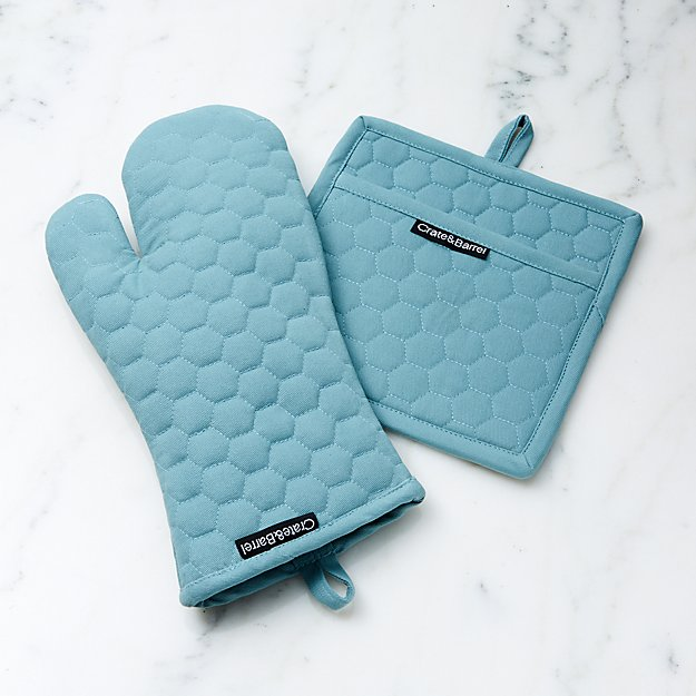 Mineral Blue Oven Mitt and Pot Holder - Image 1 of 2