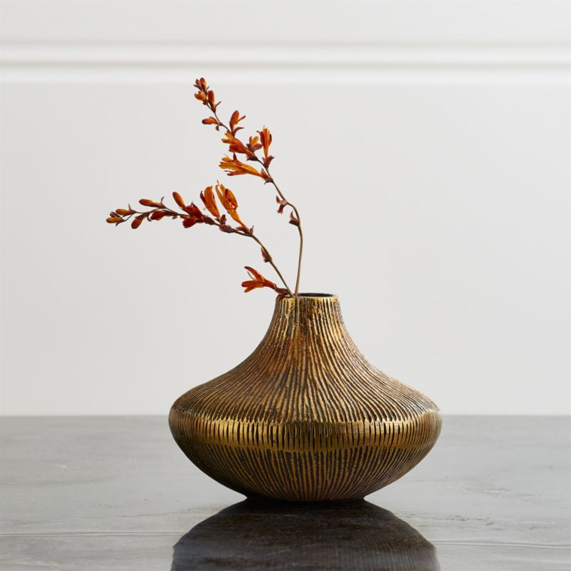 Mini Antique Brass Bud Vase Reviews Crate And Barrel