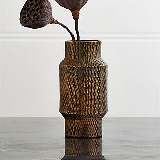 Mini Antique Brass Cylinder Vase
