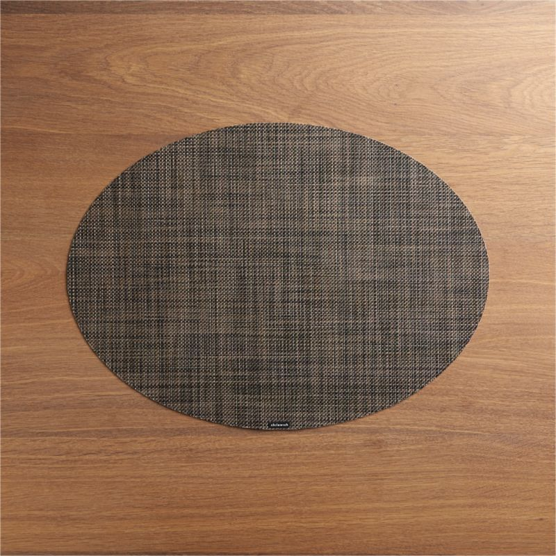Chilewich Mini Basketweave Dark Walnut Oval Vinyl Placemat + Reviews |  Crate And Barrel