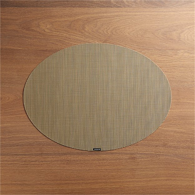 Chilewich ® Mini Basketweave New Gold Oval Vinyl Placemat