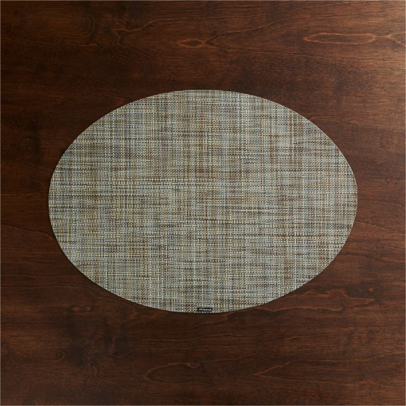 Chilewich ® Mini Basketweave Pistachio Oval Vinyl Placemat | Crate