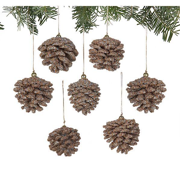 Set of 6 Mini Beaded Gold Pinecone Ornaments
