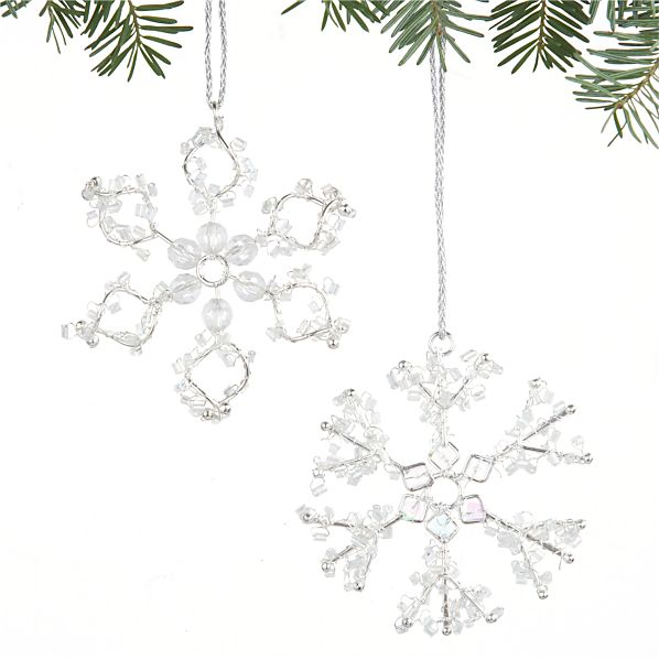 Set of 2 Mini Beaded Snowflake Ornaments