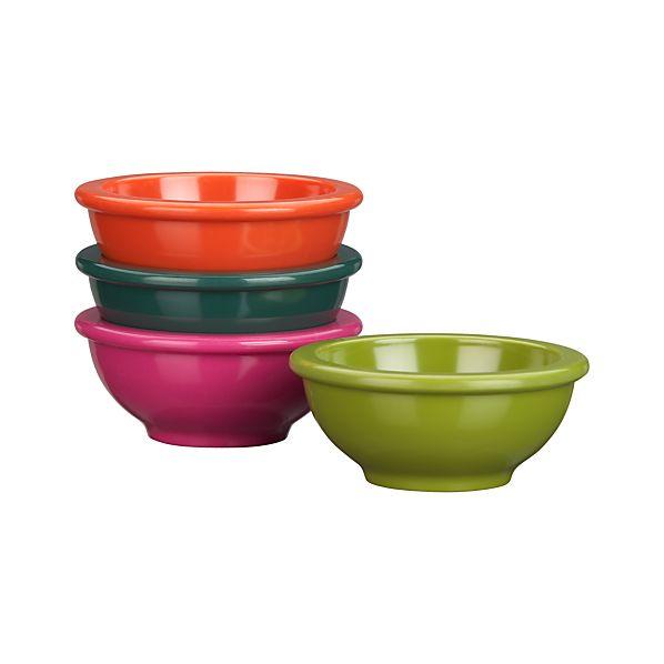"Set of 4 Melamine 3.25"" Mini Bowls"