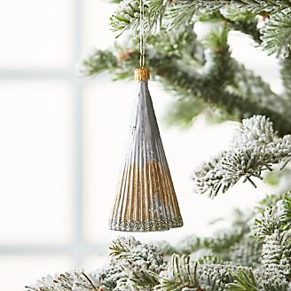 Mini Silver Gl Tree Ornament With Lines