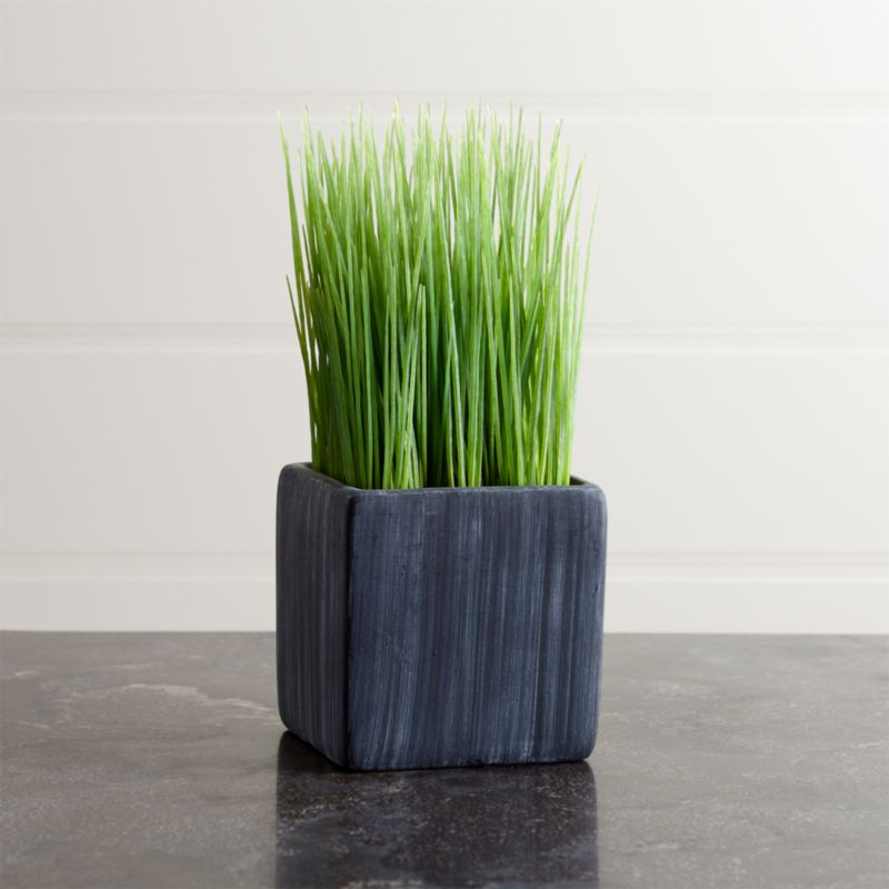 Row up these petite pots of faux grass for a modern twist on Easter décor or as an all-year interior accent. Square cement pot adds a rustic feel to its contemporary shape.<br /><br /><NEWTAG/><ul><li>Cement pot</li><li>Plastic grass</li><li>Made in China</li></ul>