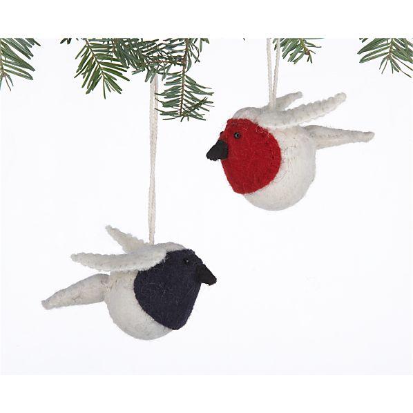 Set of 2 Mini Wool Robin Ornaments