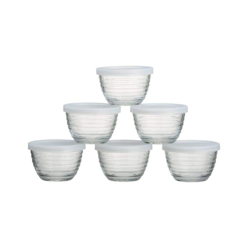 Mini Ribbed Bowl With Lid Set Of Six Reviews Crate And Barrel