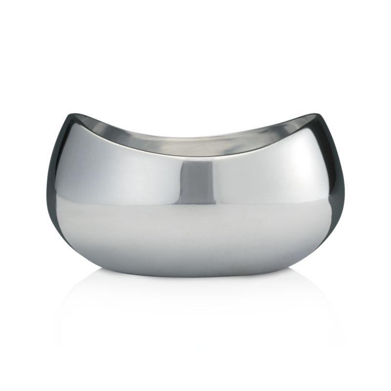Flowing organic shape crafted in mirror-finish aluminum with substantial heft for serving or decoration.<br /><br /><NEWTAG/><ul><li>Aluminum</li><li>Mirror finish</li><li>Will form a patina over time with use</li><li>Foodsafe</li><li>Hand wash and dry immediately</li><li>Made in India</li></ul>