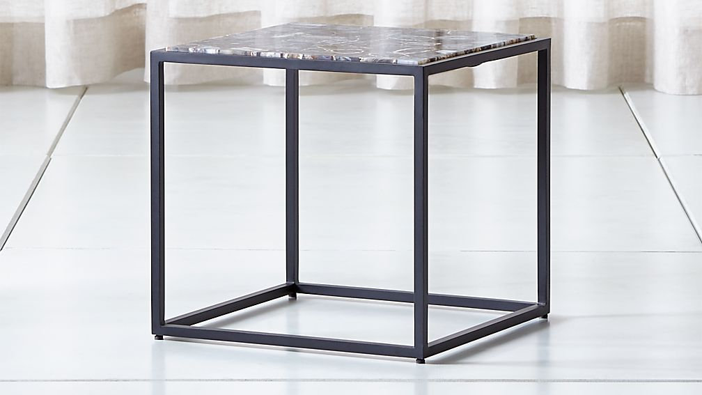 Mix Agate Low Metal Frame Side Table - Image 1 of 6