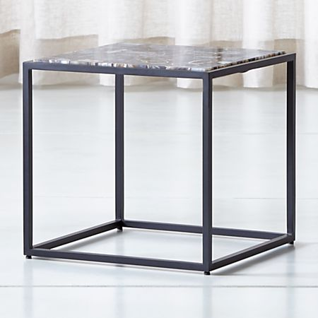 Mix Agate Low Metal Frame Side Table + Reviews | Crate and Barrel